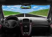 Inside car view at high speed — Stock Photo