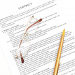 Legal contract papers with pen - Stock Photo
