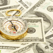Compass on money — Stock Photo