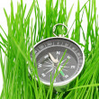 Stock Photo: Compass in green grass