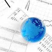 Crystal Ball on the financial section — Stock Photo