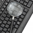 Royalty-Free Stock Photo: Magnifying glass, concept of on line security