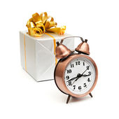 A retro clock with presents — Foto de Stock