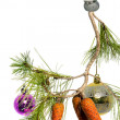 Branch with Christmas toys — Stock Photo