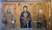 Byzantine mosaic from the Hagia Sophia Cathedral in Istanbul, Tu — Stock Photo