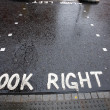 Stock Photo: Look Right warning at a pedestrian crossing in a London street