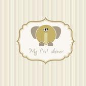 Baby shower announcement card with elephant — Vecteur