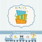 Carte d'anniversaire de bébé avec gâteau — Vecteur