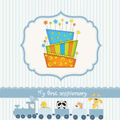 Baby birthday card with cake — Stock Vector