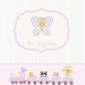 New baby born announcement card — Stock Vector