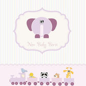Baby shower card with elephant — Stock Vector