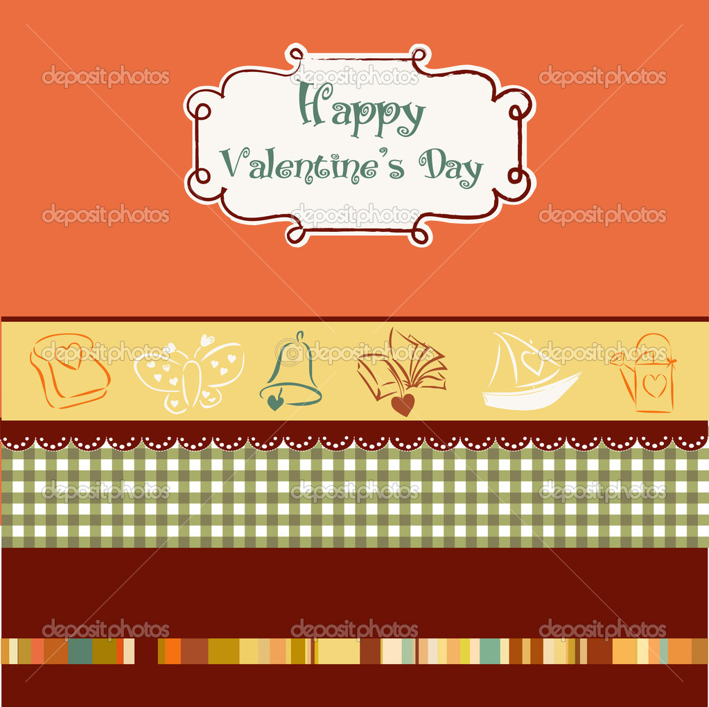 Vintage valentine's day card — Stock Vector #5382460