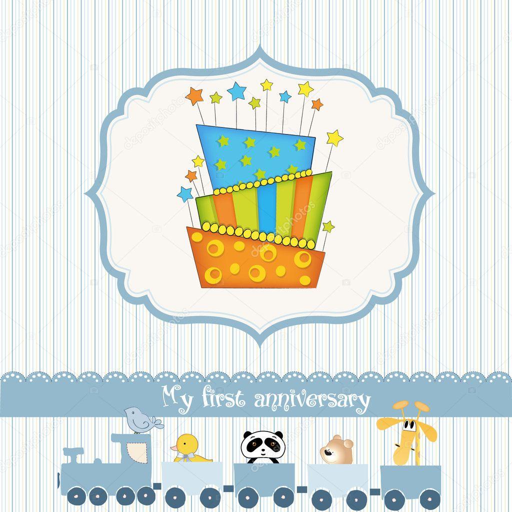 baby birthday card with cake  stock vector © claudiabalasoiu, Birthday card
