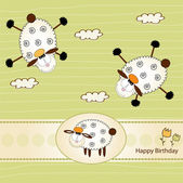 Birthday greeting card with sheep — Stock Photo