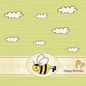 день рождения открытка с пчела — Стоковое фото