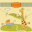 Welcome card with cute pea bean and little giraffe - Stockfoto
