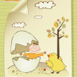 Welcome baby card with broken egg and little baby — Stock Photo