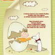Welcome baby card with broken egg ad dog — Stock Photo
