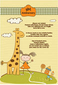 Customizable cute background with little giraffe and girl — Stock Photo