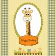Birthday greeting card with giraffe — Stock Photo