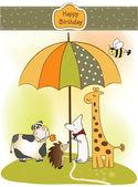 Birthday greeting card with animals — Stock Photo