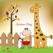 Welcome baby greeting card with giraffe - Stok fotoğraf