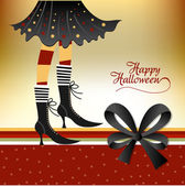 Halloween card with witch — Stock Photo