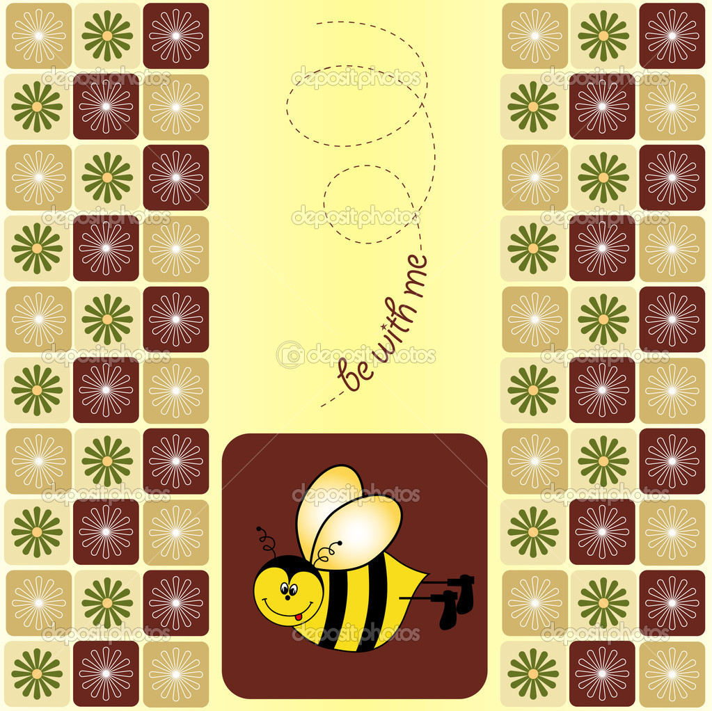 Bee greeting card  — Stock Photo #5606792