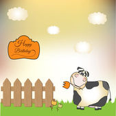 Thank you card with cow — Stock Photo