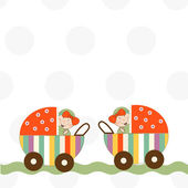 Welcome, baby twins announcement card — Stock Photo