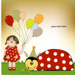 Happy birthday card with ladybug — 图库照片