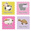 Birthday card set with animals — Stock Photo