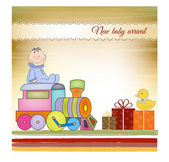 Customizable birthday greeting card with train — Stock Photo