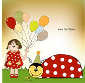 Happy birthday card with ladybug — Stock Photo