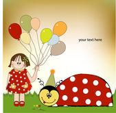 Happy birthday card with ladybug — Stock Photo