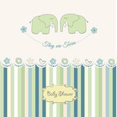 Baby twins shower card — Stock Photo