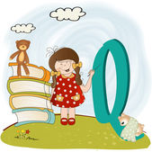 Children alphabet letters ''q'' — Stock Photo
