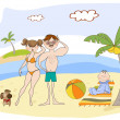 Happy family on the beach — Stock Photo #6078862