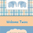 Twins baby shower card with two elephants - Стоковая фотография