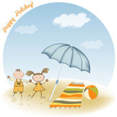 Two kids play on the beach — Stock Photo