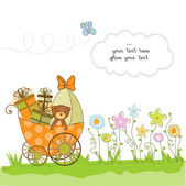 Baby shower card with flowers — Stock fotografie