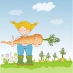 Gardener to harvest carrots — Stock Photo