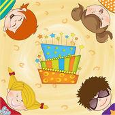 Kids celebrating birthday party — Stockfoto