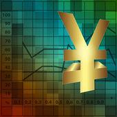 Finans arka plan 3d yen işareti — Stok fotoğraf