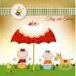 Stock Photo: New baby twins invitation with umbrella