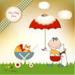 New baby invitation with umbrella — Stock Photo
