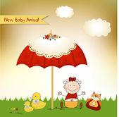New baby invitation with umbrella — Zdjęcie stockowe