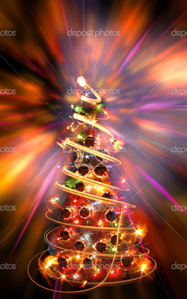 Xmas tree (lights) on the color background — Stock Photo #5598252