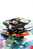 Floppy dissc, dvd, cd-rom, harddrive — Stock Photo