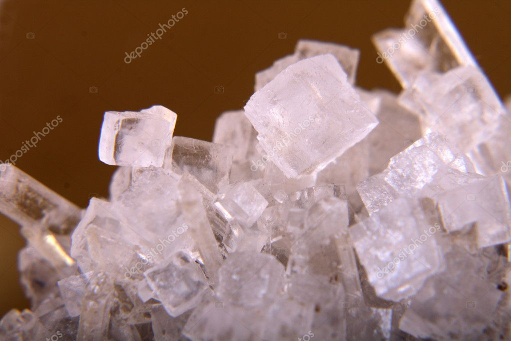 Cubes of salt on the golden background   Stock Photo #5621964